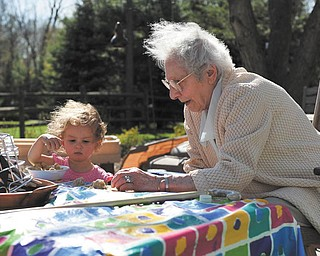 Here is a picture of 1-yr-old Hannah LaPlante, 1, and her 94-year-old great-grandma, Adeline DeBartolo, are playing together at a breezy birthday party last spring. Sent by Laurie LaPlante of Poland..