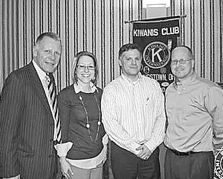 Special to The Vindicator  Featured at the noon meeting of the Kiwanis Club of Youngstown on Feb. 26 was a talk by, second from left, state Sen. Joe Schiavoni , District 13. Schiavoni discussed events that transpired during his first year in office and spoke of current issues facing the Senate. Joining the senator at the event were, from left, Christopher McCarty, club president; Rachael Ramps, vice president; and Bryan Kenzie, president-elect.