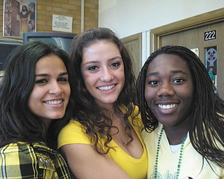 Linda Lucarell Miller of Youngstown sent this picture of three of her students in her sophomore religion class at Ursuline High School: Monica Esparra, Sophia Santisi and Brianna Curd..