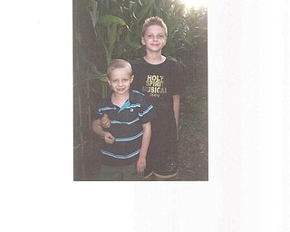 This picture of brothers Zachary and Zane Schenk of Lowellville was taken by their mother, Lisa, this past fall at Columbiana Maze Craze..