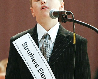 ROBERT K. YOSAY | THE VINDICATOR..Brandon Lambert  reacts as he misses his word  in the 2010 -77th Vindicator Spelling Bee was held  at the Chestnut Room at Kilcawley Center at YSU - 30-