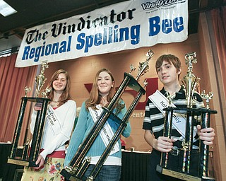ROBERT K. YOSAY | THE VINDICATOR..And the winners are  - Second Place -  Willow Creek Learning Center - Lauren Ann Ritz - Champion - Springfield Elementary Julia Miglets - and Third Place- Holy Family Andrew Rossi -  as the winners in the 2010 -77th Vindicator Spelling Bee was held  at the Chestnut Room at Kilcawley Center at YSU - 30-
