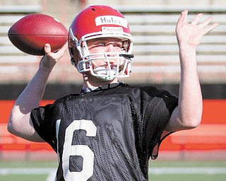 Gannon Hulea (16) at YSU's spring football practice at Stambaugh Stadium on Wednesday afternoon.