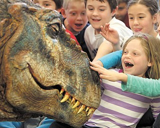 """Ashlee Barth, in the striped shirt, Rachel Wolfe  and Michael Voitus pet the Baby T. Rex at the dinosaur's Mahoning Valley debut at the Poland branch of the Public Library of Youngstown and Mahoning County. Baby T., as it's called, is one of 17 life-size dinosaurs from the arena show, """"Walking with Dinosaurs,Ó which runs May 4-5 at the Covelli Centre. The creature met kindergarten students from Poland's three elementary schools Monday."""
