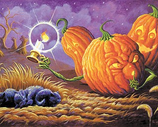 """Van Hoose's painting """"Sleeping Kittens"""" features three sinister-looking jack-o'-lanterns sneaking up on a group of kittens and is one of his most famous. Van Hoose graduated from Youngstown State University in 1993."""