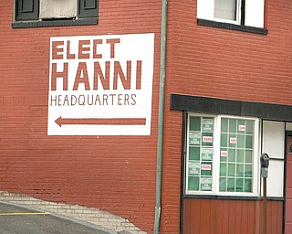 Don L. Hanni III, who is running in the May 4 Democratic primary for the 60th Ohio House District seat against incumbent Robert F. Hagan, is in a dispute with the city regarding a sign painted on his family's downtown Youngstown building.