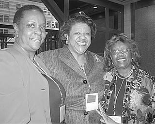 The Vindicator: Delighted with efforts to eliminate domestic violence discussed during Delta Days at the United Nations in New York City are, from left, Marcia Haire-Ellis, president of Youngstown Alumnae Chapter of Delta Sigma Theta Sorority; Cynthia M.A. Butler-McIntyre, national president of the sorority; and Eugenia Atkinson, Alumnae Chapter chair of the international awareness committee.
