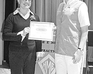 The Vindicator: The first Hannah E. Mullins School of Practical Nursing Alumni Nursing Scholarship Award was presented during a graduation ceremony that took place at 8 p.m. Feb. 25 at Kent State City Building, 230 N. Lincoln Ave., Salem. Mindy Steer, a graduate of the school, at left, had the honor of presenting the award to Jenn Black, a senior at the school.