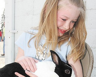 FARM - 8 year old Autumn Reed of Boardman cuddles with a rabbit Sunday afternoon. - Special to The Vindicator/Nick Mays