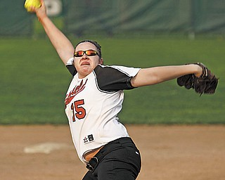 Canfield ace Carlee Hart (15) pitches to Sabrina Long of Niles during a game Thursday in Niles. The Cardinals defeated the Red Dragons, 7-0, for Hart's fifth win of the season — and her first no-hitter.