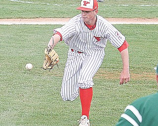 Youngstown State pitcher Blake Aquadro fi elds a bunt in Sunday's game against the Le Moyne Dolphins at  Eastwood Field. Aquadro, a freshman, held the Dolphins to an unearned run on three hits as the Penguins went on to win 4-1.