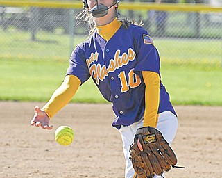 Champion pitcher Lindsay Swipas releases the ball at the end of her delivery during Tuesday'sgame against LaBrae. The Flashes won, 4-1, in the All-American Conference Blue Tier game to remain undefeated on the season.