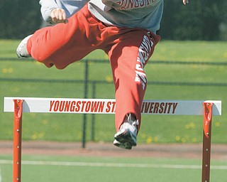 Youngstown State hurdler Nicole Pachol of Howland jumps during practice at Stambaugh Stadium.
