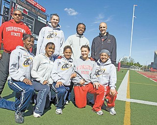 The Youngstown State University track team includes (standing, from left) Tarelle Irwin, Michael Davis, Clarence Howell and Adam Kagarise. Kneeling are Kenya Garner, Ta'Nesha Anderson, Symona Gregory, Nichole Pachol and Alexis Washington.