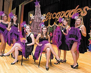 The 2010 Escapades Variety Show at Mineral Ridge High School will include cancan dancers Jessica Fox, left, Alexa Papas, Megan Reinhart, Taylor Strohmeyer, Gina Papas and Mackenzie Rummell, posing at the high school on stage in their costumes.