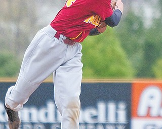 Cardinal Mooney's Ryan Gallagher (24) pitches in the top of the fi fth inning during the Cardinals' 8-2 win against the Struthers Wildcats on Thursday at Cene Park in Struthers. Gallagher (4-1) carried a no-hitter into the fi fth and a one-hitter into the seventh before the Wildcats (9-7) tagged him for their only runs.