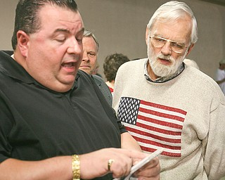 ROBERT K. YOSAY | THE VINDICATOR.Bill Lyden of Youngstown goes over the results of the sales tax with Anthony Trafacanti at Ludt's re election  headquarters - 30-