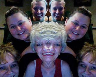 "Mary McLaughlin, the ""three-eyed grandma in the middle,""  says her granddaughter, Jocelyn Jones (middle), took this three-generation picture on her Mac computer because the family loves to make people laugh.  Her other granddaughter, Alannah Russell, is at the top, and her daughter, Lisa Pincombe, is at the bottom."