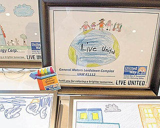 Geoffrey Hauschild|The Vindicator.Awards hand drawn by children who have personally benefitted from the services of the United way and their partners during an awards ceremony for the United Way on Tuesday evening.