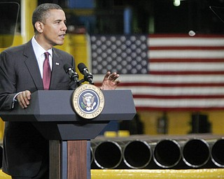 William D Lewis| The Vindicator  President Obama speaks at V&M Star Steel in Youngsotwn 5-18-10.