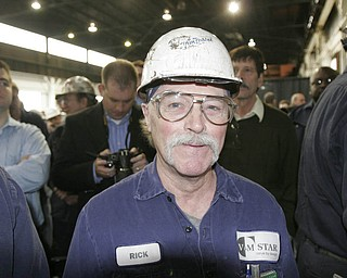 William D Lewis| The Vindicator  V&M employee RicK Van Tassel of Sharon during visit of President Obama 5-18-10.