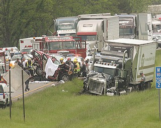 This fatal accident closed the eastbound lanes of Interstate 80 for several hours Monday. Three people in a sport-utility vehicle were killed afternoon when their vehicle was hit from behind by a tractor-trailer as traffic was slowing down for roadwork. The crash pinned the SUV between the truck and another tractor-trailer in front of it in Hubbard Township.