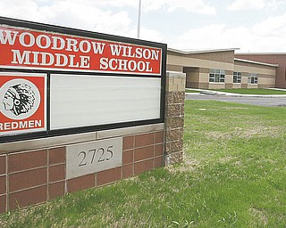 Exterior work is done at the new Woodrow Wilson Middle School at Indianola and Gibson Avenues on Youngstown's South Side. A group now wants to change the name to something else, saying Wilson was a racist.