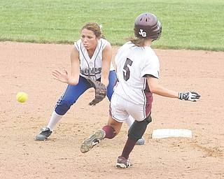 Poland's (21) Kalie Benson waits on the ball as (5) Lindsey Buchanan tries to beat the throw Thursday afternoon in Akron.