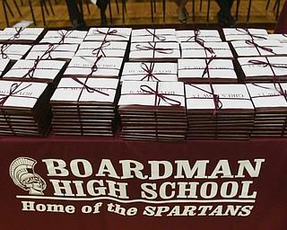 ROBERT K. YOSAY | THE VINDICATOR..Close to 400 students graduated as diplomas waited for passing out at Boardman High Schools Graduation 2010 held at the school -30