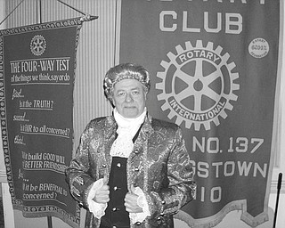 At a recent meeting of the Youngstown Rotary Club, Bill Johnson, past Austintown Club president and past district governor, portrayed John Adams, signer of the Declaration of Independence and the second U.S. president. As Adams, he recounted the history leading to the formation of the United States and the signing of the Declaration. Johnson is the author of two books about the times and about John Adams.