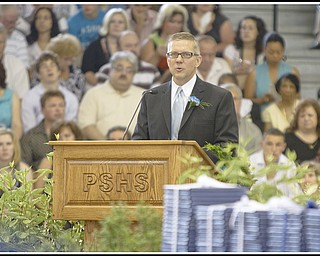 Geoffrey Hauschild|The Vindicator.Commencement Speaker Paul McFadden during Poland's 2010 Commencement Ceremony at the high school gymnasium on Sunday afternoon.