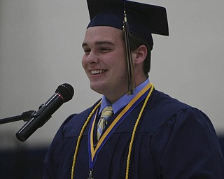 ROBERT K. YOSAY | THE VINDICATOR...Domimnic Donofrio - class president - at Lowellville High School gym - the glass of 2010 - graduated Sunday afternoon-30