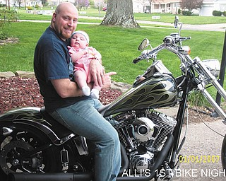 "Everyone wondered if the birth of his daughter, Alicen Ruby, on Jan. 1 would change Harley lover Adam Hromyak of Boardman. According to his wife, Lori, the answer is ""NO!"""