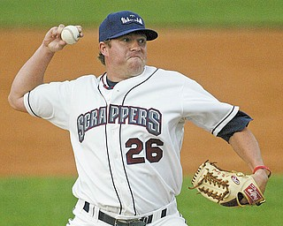 Scrappers pitcher J.D. Goryl delivers a pitch during the fourth inning of Monday's game against Auburn at Eastwood Field.