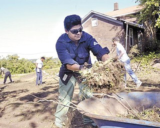 Lien Forward and V&M Star organized a group of about 30 volunteers to spruce up a vacant lot at the corner of Oakland Avenue and Columbia Street in Youngstown's Brier Hill area Wednesday. Above, Robert Flores, a V&M Star employee and member of V&M's Sons and Daughters program, helps clear brush from the lot.