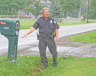Niles Patrolman Rick Wilson stands next to a mailbox that was broken in half sometime early Saturday by motorcyclist William J. Jury Jr., 36, of Mineral Ridge. Jury lost control of his motorcycle on a curve and traveled about 150 feet along the side of Salt Springs Road in Niles before landing in a wooded area. He was found dead about 10 o'clock that morning by neighbors after they noticed the damage.