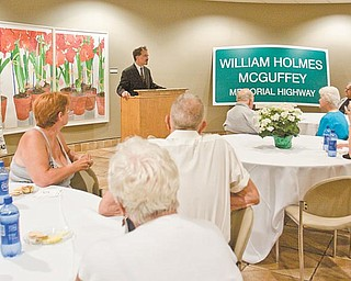 Richard Scarsella, president of the William Holmes McGuffey Historical Society, discussed the importance of honoring McGuffey, a Mahoning Valley native and pioneer in  education, decades after his death. A stretch of Interstate 680 was recently named the William Holmes McGuffey Memorial Highway, thanks to the historical society and state legislators.