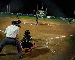 Ally Deamer threw consistent strikes during the later inning of the team's first game in the World Series of Little League Softball in Portland, Ore., July 13th, 2010. The team from Poland, OH went on to beat the team from Brenham, TX, 5-4.