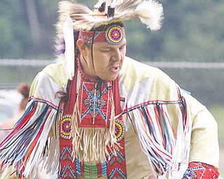 Blaine Tallchief of Salamanca, N.Y., performing at the Red Hawk Native American Pow Wow at Trumbull County Fairgrounds on Sunday.