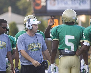 LISA-ANN ISHIHARA | THE VINDICATOR...Coach Reardon before scrimmage against the Canton GlenOak Eagles