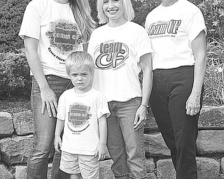 Special to The Vindicator/Nick Mays: Wearing T-shirts that show their support for the Great Strides fundraising walk for Cystic Fibrosis Northern Ohio Chapter on Sept. 18 and the annual Tee Off to Cure CF golf outing on Sept. 19 are committee members, from left, Lindsay Adams, Chrissy Falleti and Colleen Novosel, and, in front, J.T. Adams, 4.