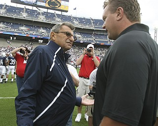 ROBERT K. YOSAY | THE VINDICATOR..YSU   Eric Wolford and PSU Coach Joe Paterno  share a moment before the big game.YSU  LOSES 44-14   PENN STATE at BEAVER STADIUM IN HAPPY VALLEY.-30