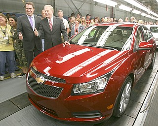 ROBERT K. YOSAY | THE VINDICATOR..GM North America President  and Gov Ted Strsckland at GM Lordstown  Kicked Off the Chevy Cruze today at the Lordstown Plant  with the President of GM - Tim Ryan - The Boardman Band and a slew of elected officials -..-30-..