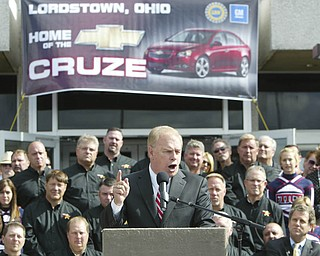 ROBERT K. YOSAY | THE VINDICATOR..Ted Strickland .GM Lordstown  Kicked Off the Chevy Cruze today at the Lordstown Plant  with the President of GM - Tim Ryan - The Boardman Band and a slew of elected officials -..-30-..