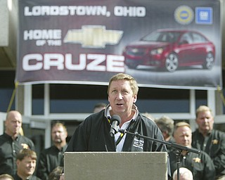 ROBERT K. YOSAY | THE VINDICATOR..GM President North America talks abut the New Cruze.GM Lordstown  Kicked Off the Chevy Cruze today at the Lordstown Plant  with the President of GM - Tim Ryan - The Boardman Band and a slew of elected officials -..-30-..