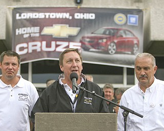 ROBERT K. YOSAY | THE VINDICATOR..Dave Green - Mark Reuss - and Jim Graham GM Lordstown  Kicked Off the Chevy Cruze today at the Lordstown Plant  with the President of GM - Tim Ryan - The Boardman Band and a slew of elected officials -..-30-..