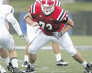 YSU senior center Justin Rechichar helped clear the way for Penguin unning backs to pile up 286 yards in last week's 31-7 win over Butler.