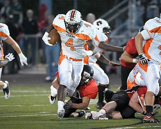 Howlands De'Von Smith chrages threw the middle againg the Canfield defence during their game on Friday. Photo/Mark Stahl