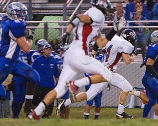 Geoffrey Hauschild|The VIndicator.Hubbard's Daniel Duvall (1) embarks on a long run down field scoring his team's second touchdown during the second quarter of a match up between Salem and Hubbard at Hubbard Stadium on Friday evening.
