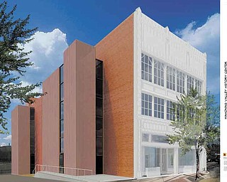 An artist's rendering by Balog, Steines, Hendricks & Manchester Architects of Youngstown of the remodeled exterior of the 22,400-square-foot building. The fund-raising goal is $6 million.